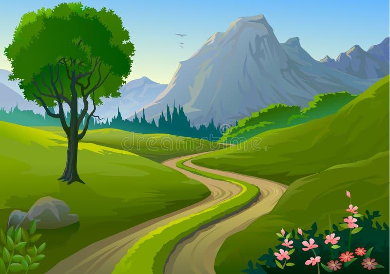 Land-seitliche felsige Hügel und einsame Bahn stock abbildung