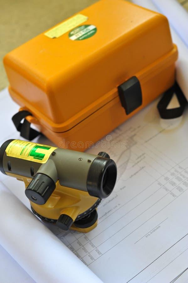 Land surveying. Total station, land surveying - geodetic instrument royalty free stock photos
