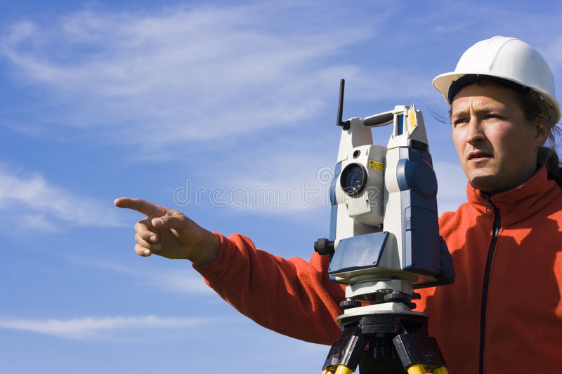 Land Surveyor in the field royalty free stock photo