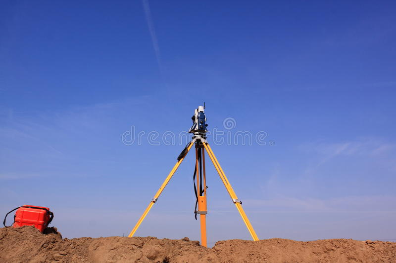 Land surveyor total station stock images