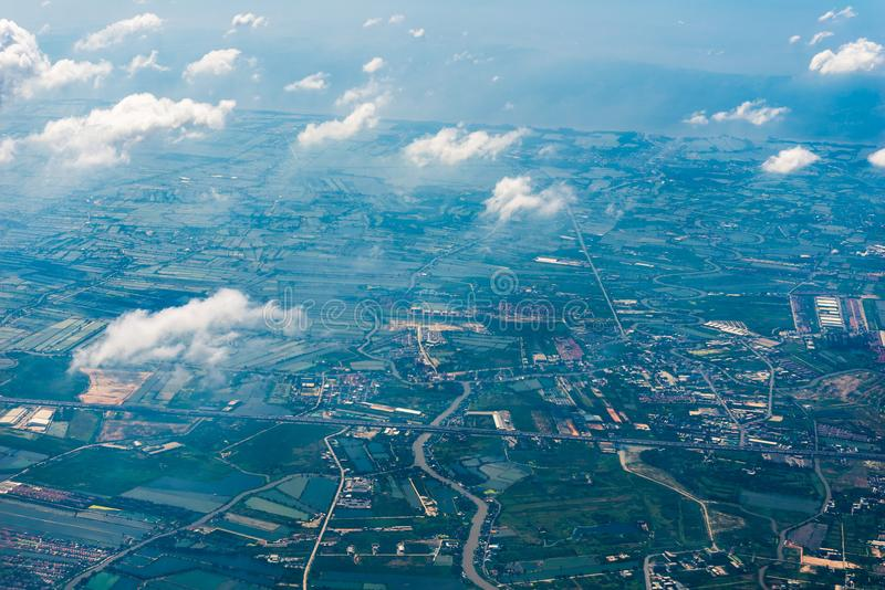 Land of Thailand from a great height view from the airplane royalty free stock photos
