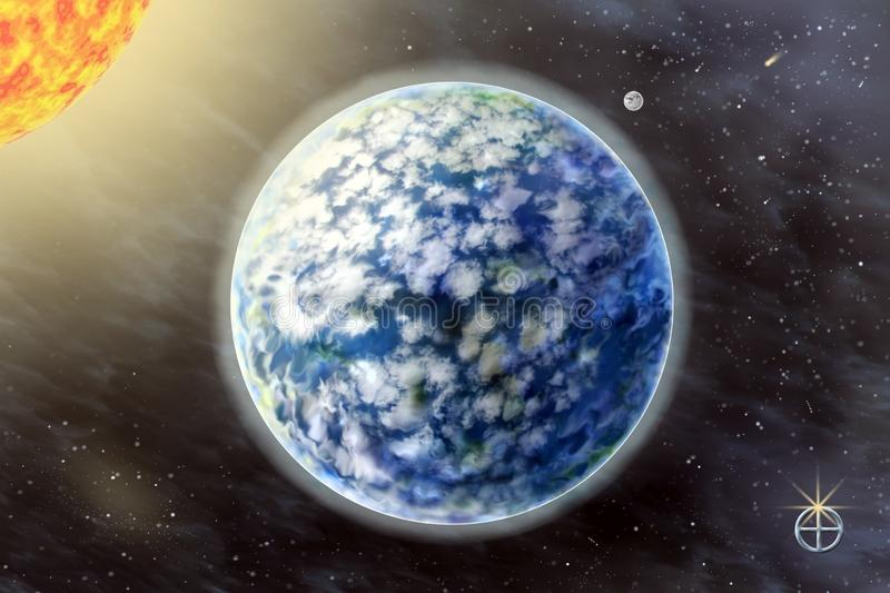 Land - a third planet of the solar system. On background starry sky and Sun stock photos