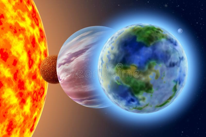 Land - a third planet of the solar system. On background Sun and starry sky stock photography