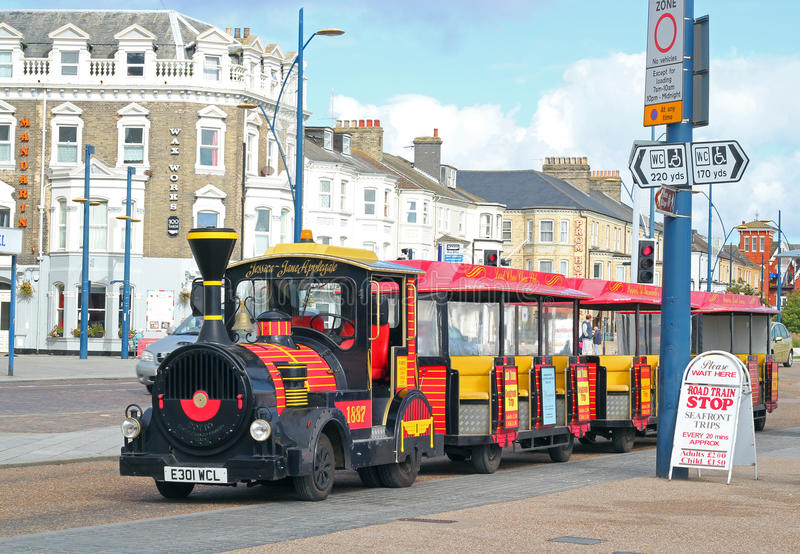Land train in Great Yarmouth, United Kingdom. The land train in Great Yarmouth, United Kingdom. The land train carries passengers along the seafront to various stock photos