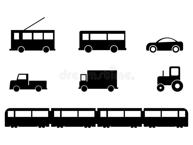 Land Transport Vehicles Set. A set of various ground vehicles. Bus tramp car lorry truck tractor train. Black and white EPS Vector.  vector illustration