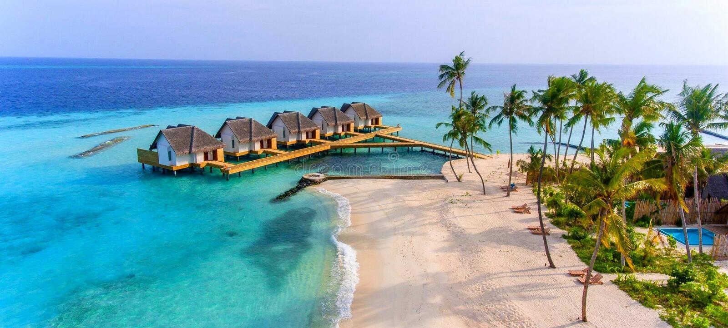 Land und Meer Maldivas stockfotos