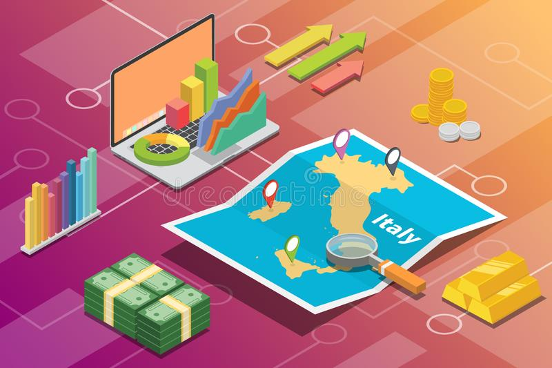 Land van de van bedrijfs Italië het isometrische economiegroei met kaart en financiënvoorwaarde - vector stock illustratie