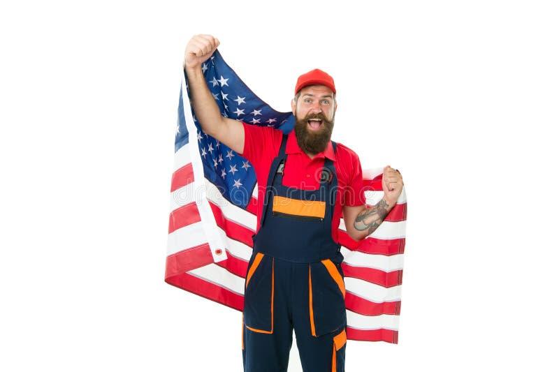 Land van kansen Nationale feestdag De arbeider viert onafhankelijkheidsdag Het werkvisum de V.S. De Amerikaanse vlag van de mense royalty-vrije stock afbeeldingen
