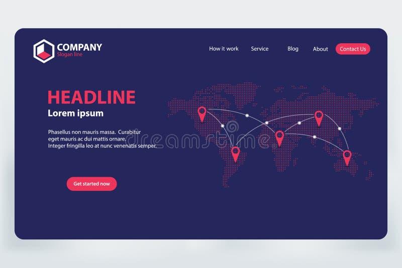 Landa design för mall för vektor för tema för nätverk för sidavärldskommunikation stock illustrationer