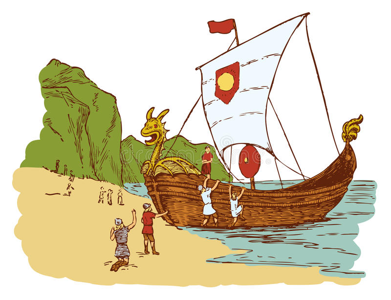 Landa för vikingar royaltyfri illustrationer