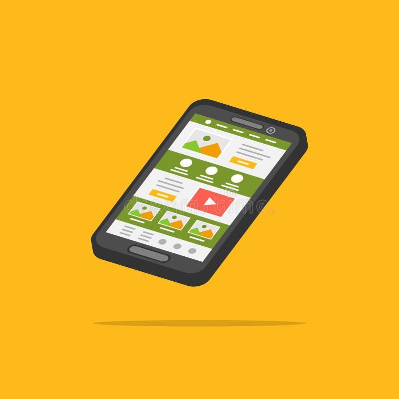 Landa illustrationen för vektor för sidatelefon 3D royaltyfri illustrationer