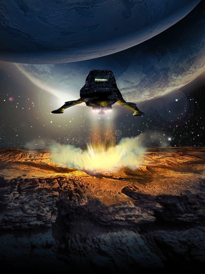Landa på den främmande planeten royaltyfri illustrationer