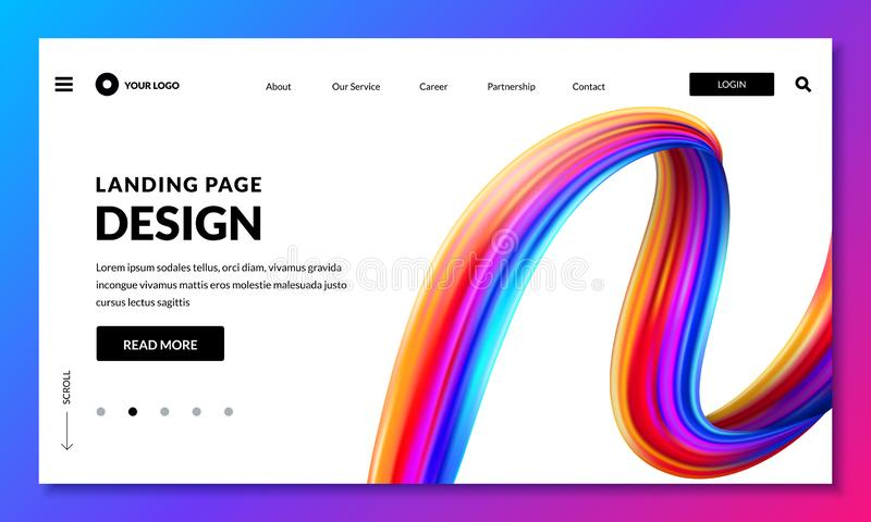 Landa sidabanermallen Websitemanöverenhet med bakgrund för slaglängd för lutningmålarfärgborste den lätta designen redigerar elem royaltyfri illustrationer