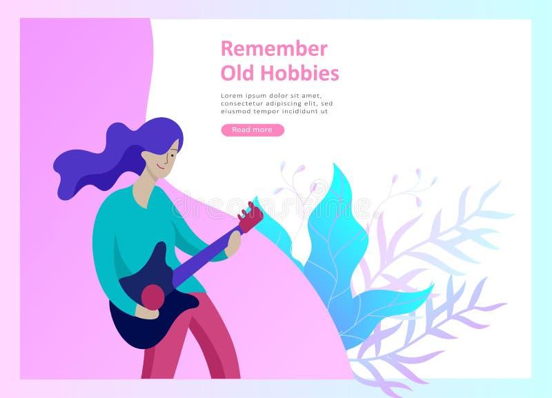 Landa sidamallar för hobbyblogg Folk som tycker om deras hobbyer och att dansa och att rida en sparkcykel, målarfärgväggar och a stock illustrationer