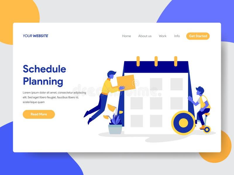 Landa sidamallen av affärsmannen som gör begrepp för schemaplanläggningsillustration Modernt plant designbegrepp av webbsidadesig royaltyfri illustrationer