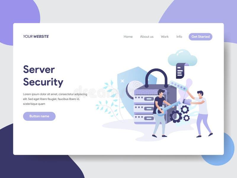 Landa sidamallen av begreppet för serversäkerhetsillustration Modernt plant designbegrepp av webbsidadesignen för website och royaltyfri illustrationer