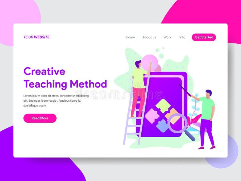 Landa sidamallen av det idérika illustrationbegreppet för undervisande metod Modernt plant designbegrepp av webbsidadesignen för  vektor illustrationer