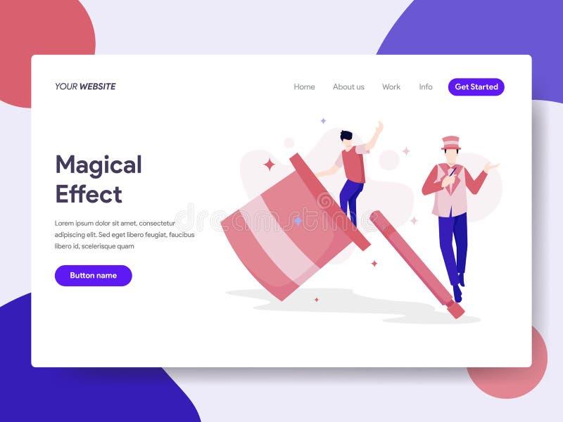 Landa sidamallen av det magiska effektillustrationbegreppet Isometriskt plant designbegrepp av webbsidadesignen för website och vektor illustrationer