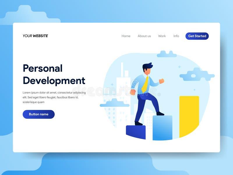 Landa sidamallen av det personliga utvecklingsbegreppet Modernt plant designbegrepp av webbsidadesignen för website och mobil stock illustrationer