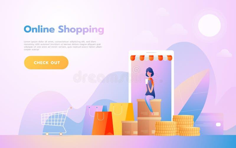 Landa sidamallen av online-shopping r royaltyfri illustrationer