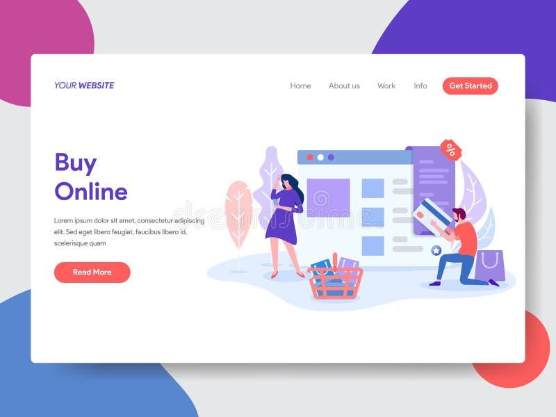 Landa sidamallen av online-shopping r vektor vektor illustrationer