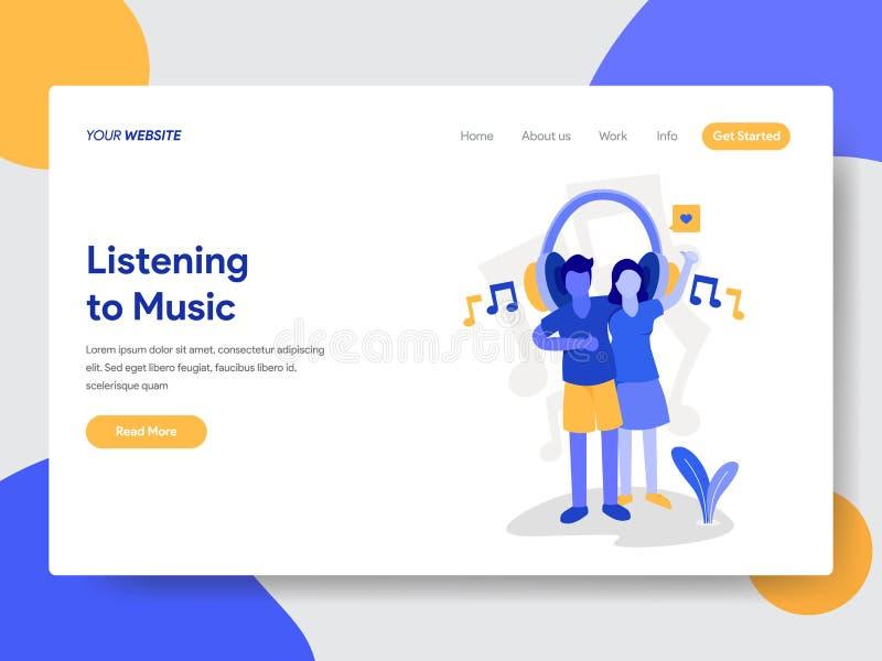 Landa sidamallen av par som lyssnar till begreppet för musikillustrationillustration Modernt plant designbegrepp av webbsidan royaltyfri illustrationer