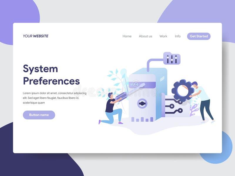 Landa sidamallen av systempreferenser som ställer in illustrationbegrepp Modernt plant designbegrepp av webbsidadesignen för vektor illustrationer