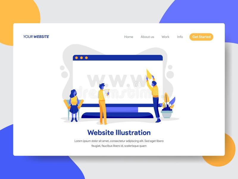 Landa sidamallen av websiten på skrivbords- illustrationbegrepp Modernt plant designbegrepp av webbsidadesignen vektor illustrationer