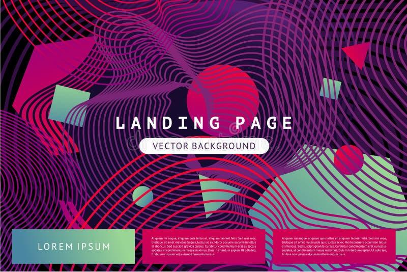 Landa sidamallen med abstrakta former och guillochelinjer Abstrakt vektorbakgrund med vibrerande färglutning royaltyfri illustrationer