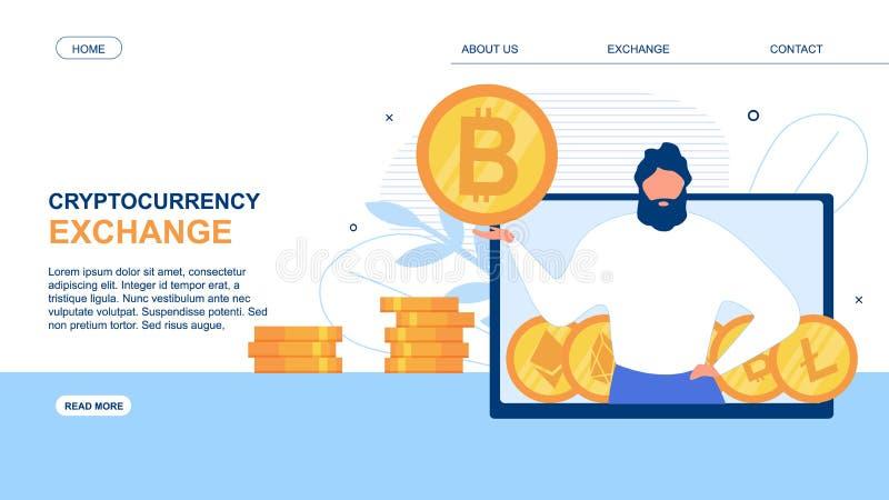 Landa sidan annonsera den Cryptocurrency utbytesappen royaltyfri illustrationer