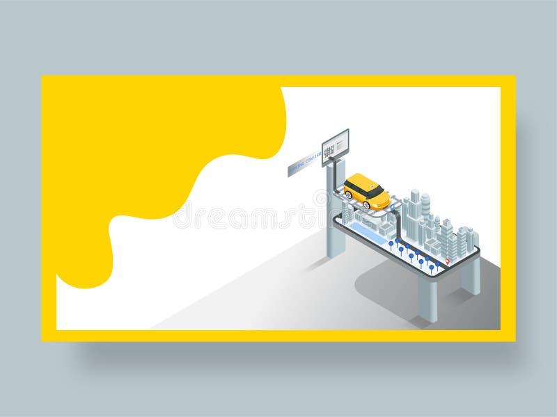 Landa sidan för online-taxibokningprocess och betalning till och med designen för begrepp för debiteringkort stock illustrationer