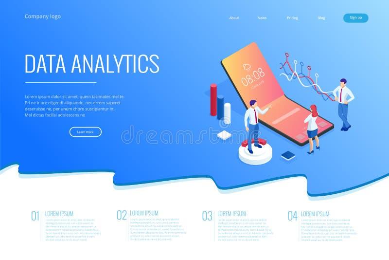 Landa sidan med isometriska affärs- och finansanalytiker som analyserar indikatorer för nyckel- kapacitet, analytiker för affärsd stock illustrationer