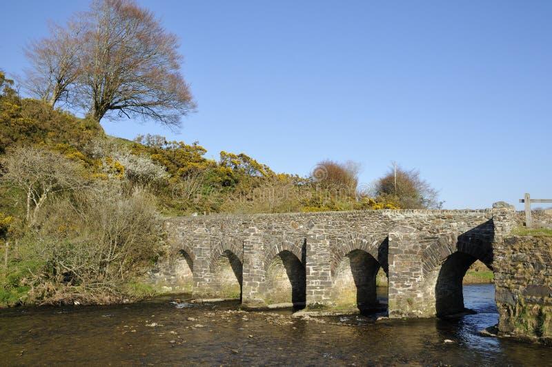 Landacre桥梁,河Barle 库存照片