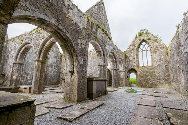 Landascapes of Ireland.  Ruins of Friary of Ross in Galway county. Landascapes of Ireland. Ruins of Friary of Ross in Galway county royalty free stock photo