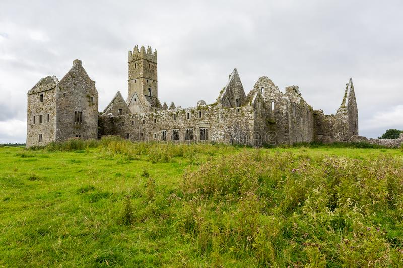 Landascapes of Ireland.  Ruins of Friary of Ross in Galway county. Landascapes of Ireland. Ruins of Friary of Ross in Galway county stock photo