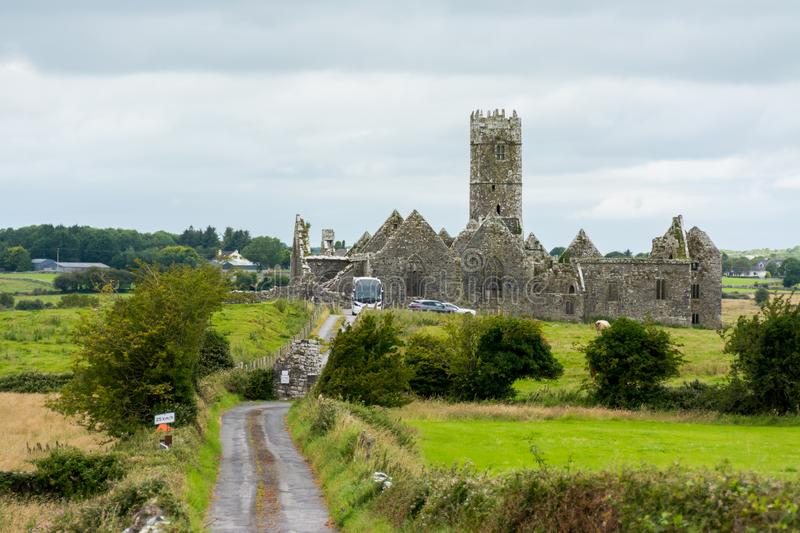 Landascapes of Ireland.  Ruins of Friary of Ross in Galway county. Landascapes of Ireland. Ruins of Friary of Ross in Galway county royalty free stock photos