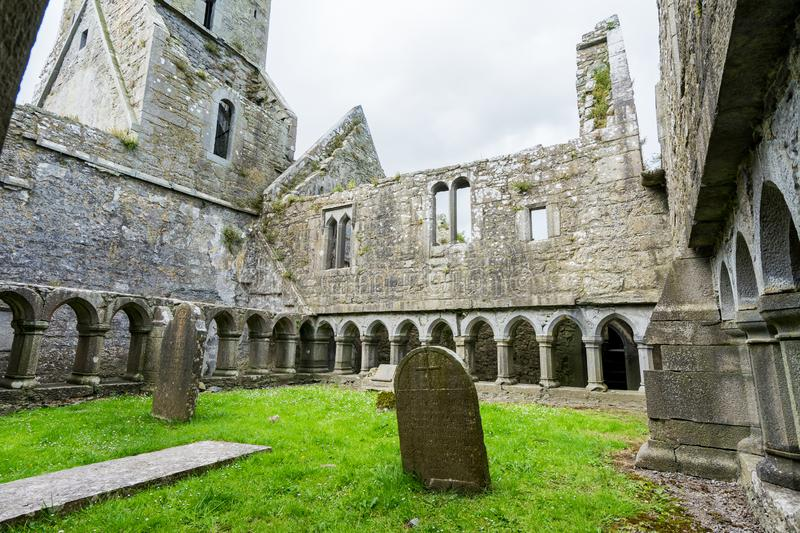 Landascapes of Ireland.  Ruins of Friary of Ross in Galway county. Landascapes of Ireland. Ruins of Friary of Ross in Galway county stock images