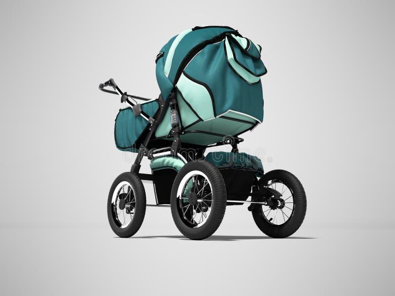 Landau bleu avec des poches pour le bébé garçon 3d rendre sur le fond gris avec l'ombre illustration stock