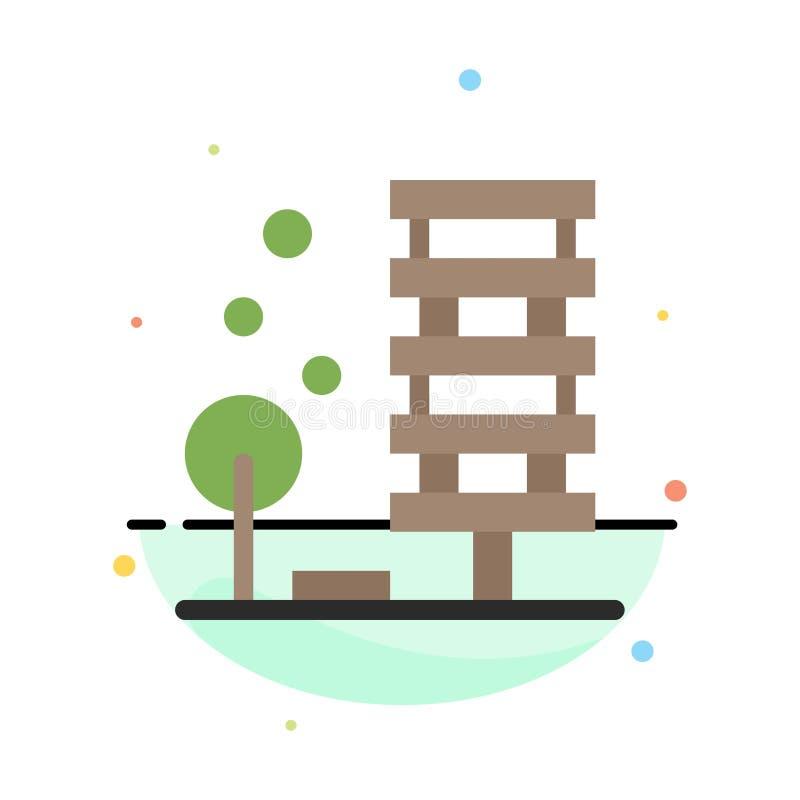Landbouw, Architectuur, de Bouw, Stad, het Pictogrammalplaatje van de Milieu Abstract Vlak Kleur royalty-vrije illustratie