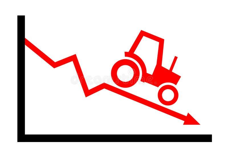Landbouw/de landbouw als dalende en dalende industrie vector illustratie