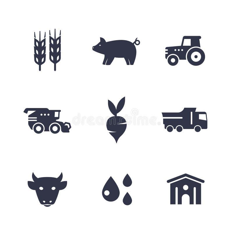 Landbouw, de landbouwpictogrammen op wit worden geïsoleerd dat royalty-vrije illustratie