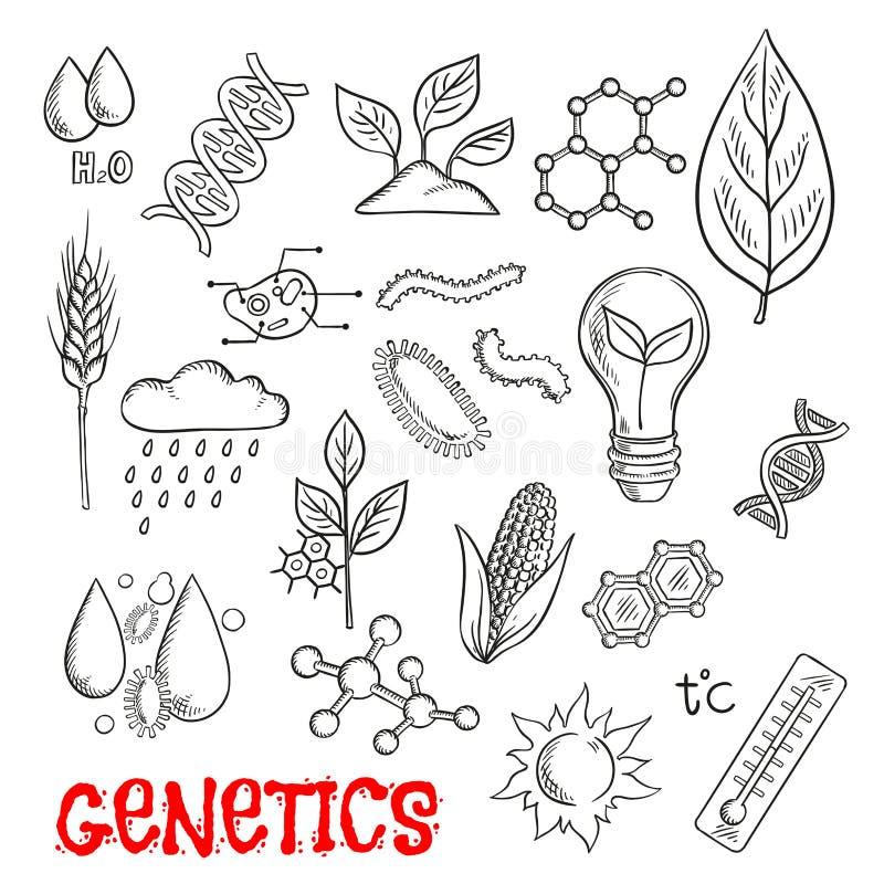 Landbouw en de genetische pictogrammen van de technologieschets royalty-vrije illustratie