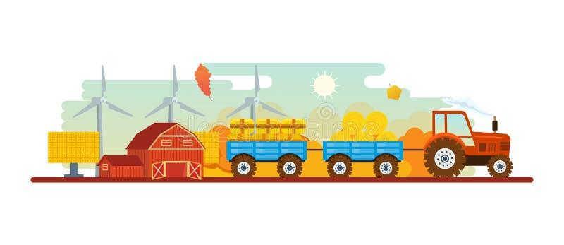 Landbouw en de Landbouw landbouwindustrie Landelijk landschap E stock illustratie