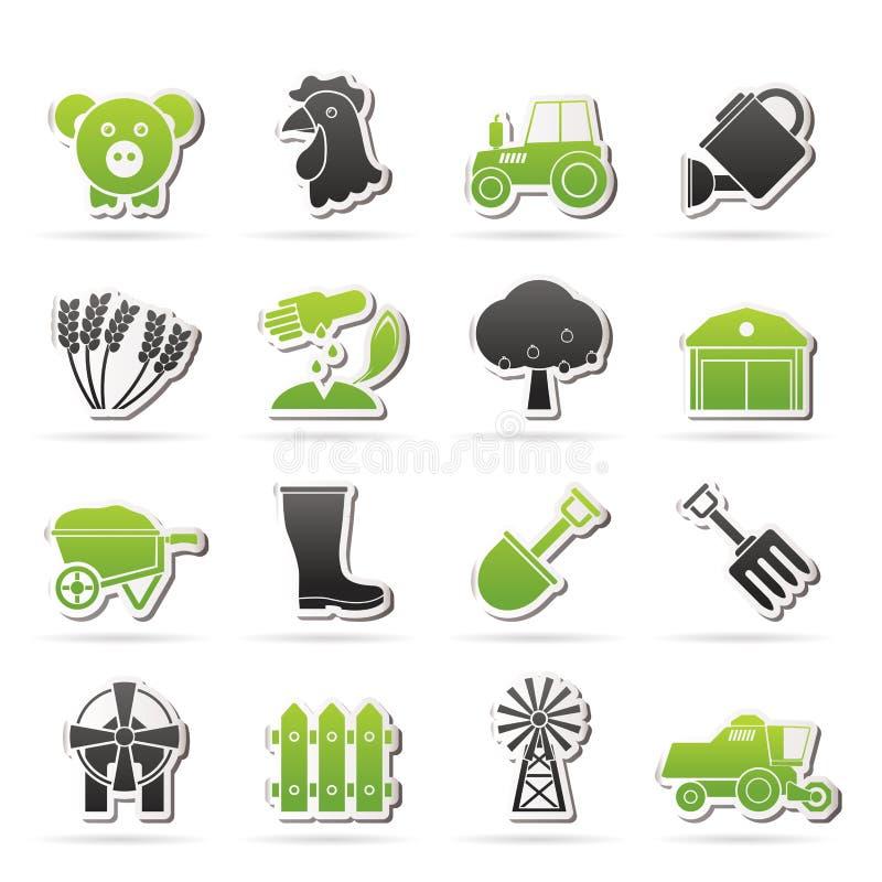 Landbouw en de landbouwpictogrammen stock illustratie