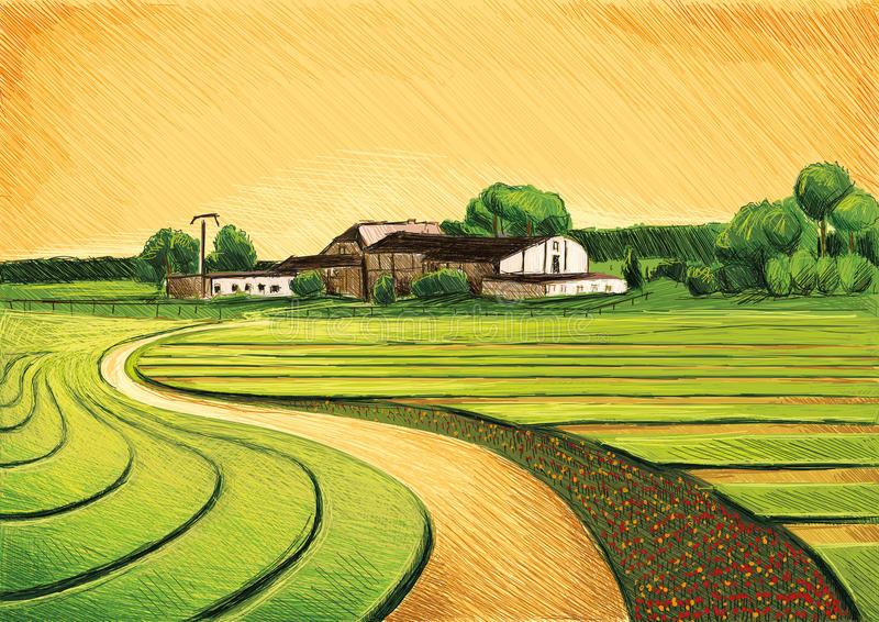 Landbouw en Farmworking vector illustratie