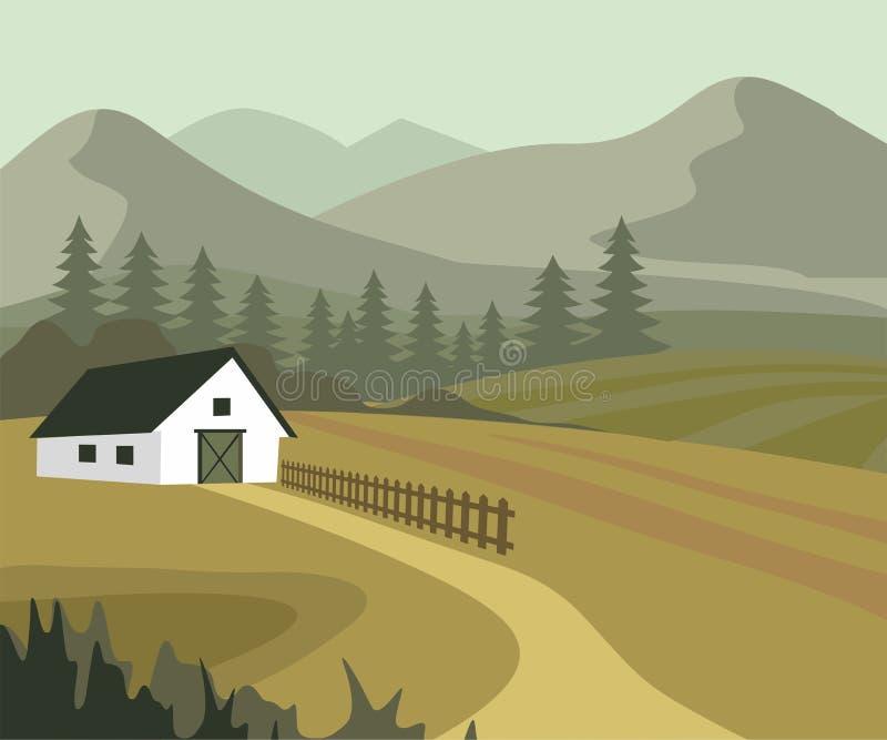 Landbouw en landbouw, landschap op het platteland royalty-vrije illustratie