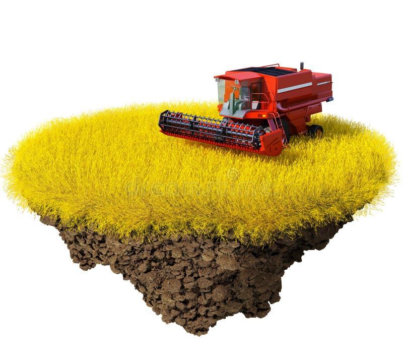 Landbouw: het oogsten korrelgebied royalty-vrije illustratie