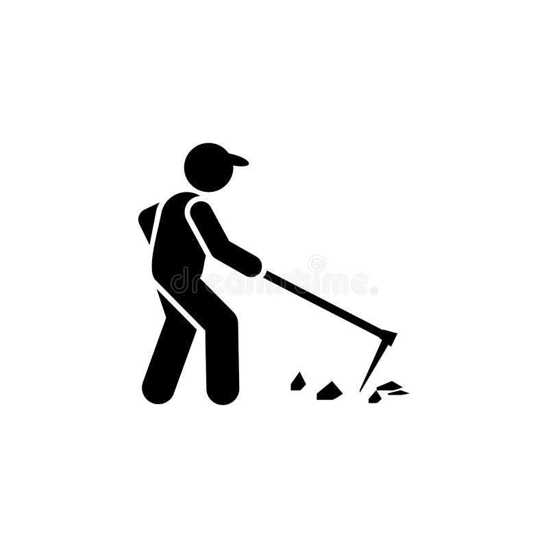 Landbouw, landbouwer, schoffel, arbeiderspictogram r Grafisch het ontwerppictogram van de premiekwaliteit Tekens en Symbolen vector illustratie