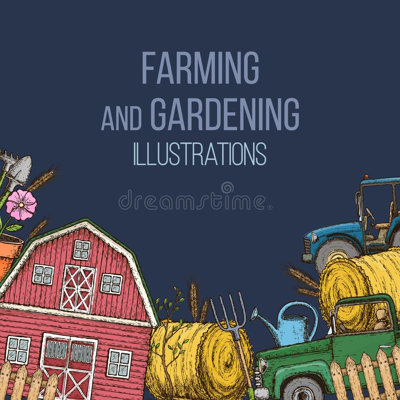 Landbouw landbouwinstrumenten stock illustratie