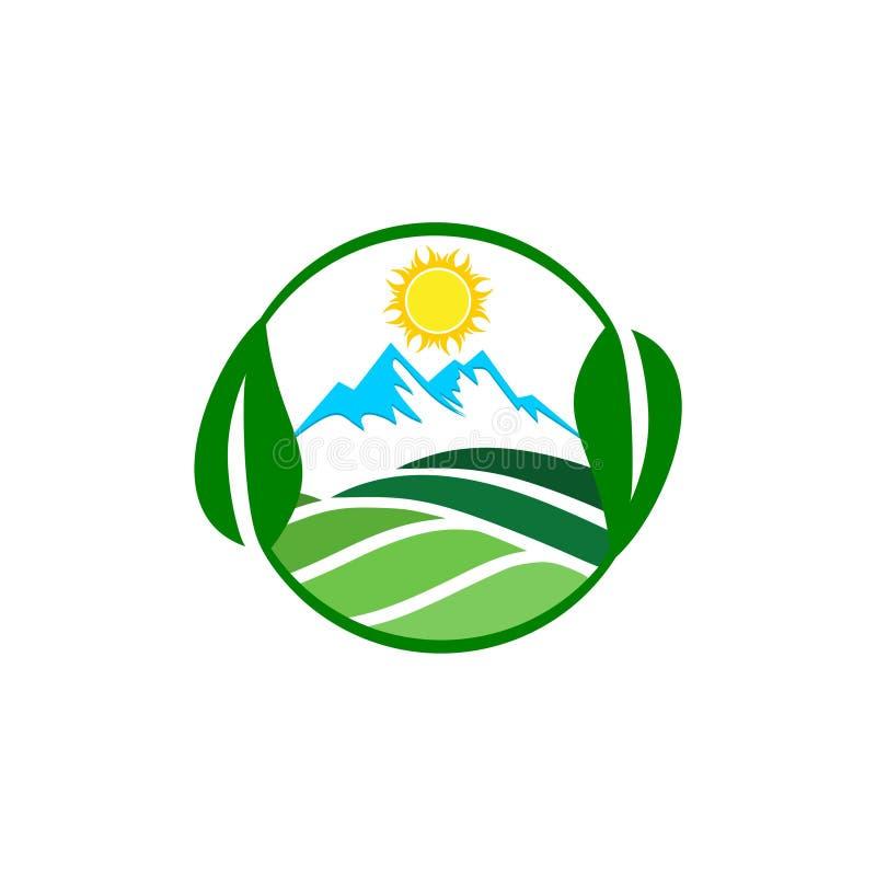 Landbouw Logo Template, eenvoudig landschapsembleem stock illustratie